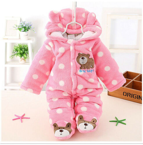 Newborn Baby Jumpsuit Outfit Hoody Coat Winter Infant Rompers Toddler Bodysuit