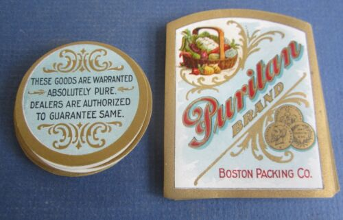 LABELS PURITAN Brand Boston Packing Co. Lot of 50 Old Vintage