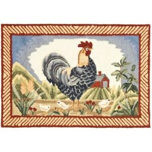 Details about Kitchen Rug Country Farm Animal Rooster Decor Red Blue Barn  Accent Indoor Mat