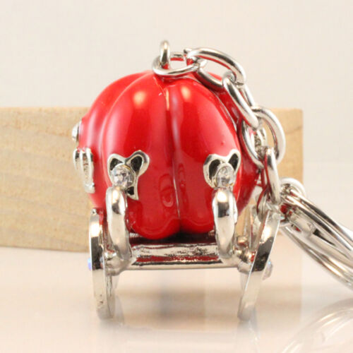 Red Royal Keychain Carriage Crystal Charm Purse Key Ring Chain Gift Cute 01044
