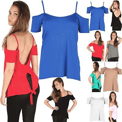 Womens Girls Strappy Off Shoulder Bardot Short Sleeve Flared Ladies Swing Top