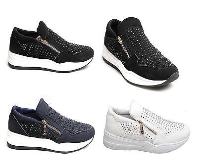 Mujeres señoras postal Diamante entrenadores Piedra Zapatos Moda Zapatillas De Deporte Gamuza cómoda