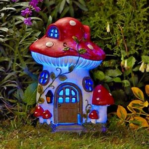 Image Is Loading Cute Detailed Mush Room Fairy Garden House Solar