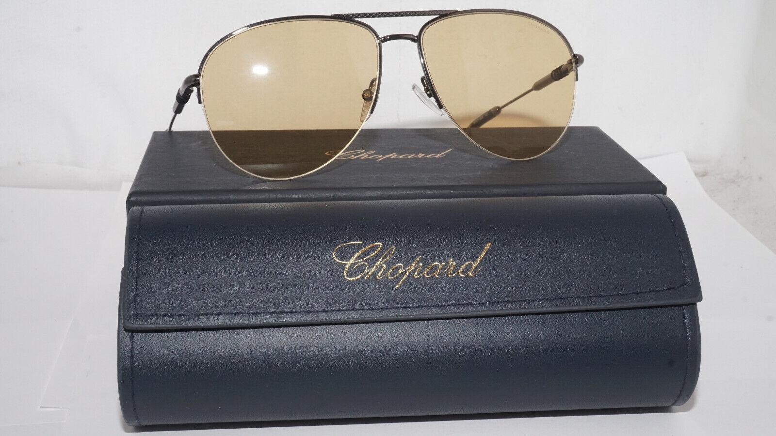 Chopard Sunglasses New Aviator Half Rim Gunmetal Yellow SCHD38V 568F 60 15 140