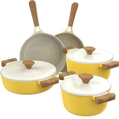 8 Piece Kitchen Cookware Set Nonstick Ceramic Pots And Pans Cooking Set Yellow Ebay