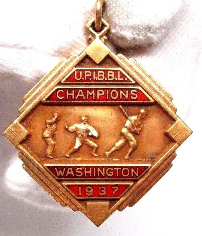 Vintage 1937 John A Heydler National League Trophy gold Enamel Charm Washington