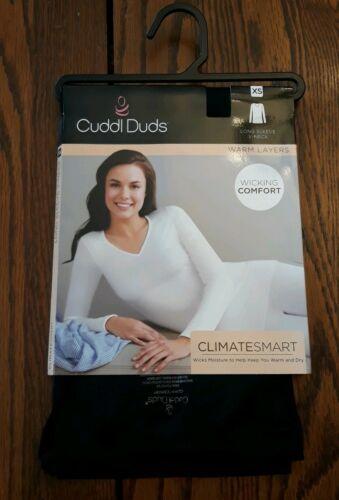 Cuddl Duds women/'s Climatesmart long sleeve V-neck top size XS  black