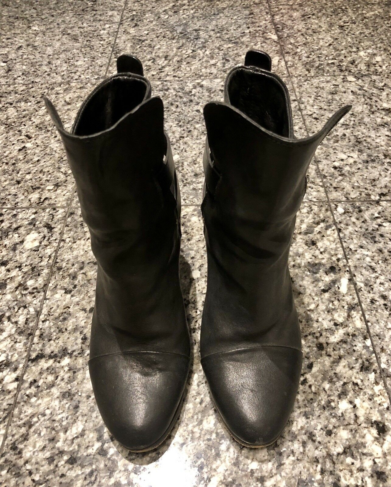 Rag and Bone Harrow Black Leather Booties Ankle Boots