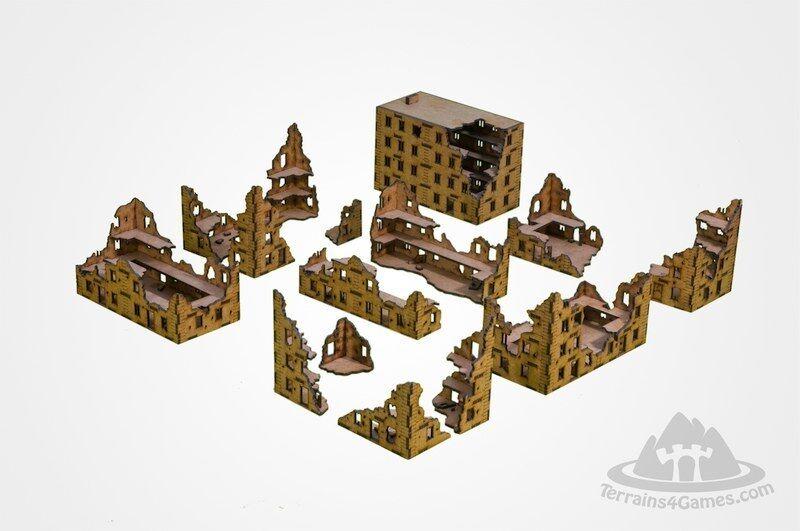 Laser geschnitten wurden 15 wargaming landschaft unlackiert stadt ruinen flammen des krieges panzer