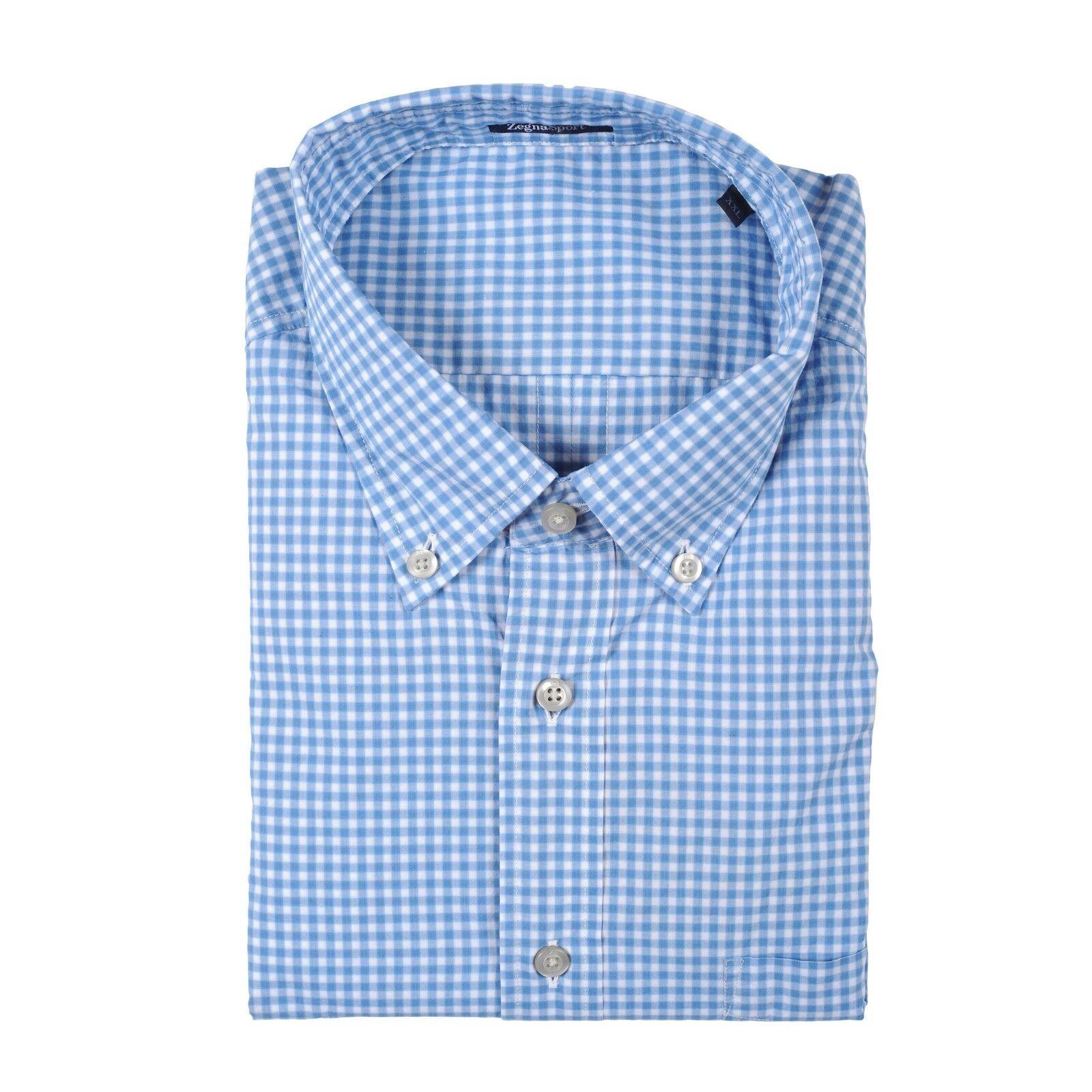 Z Zenga Herren 100% Cotton Regular Passform Blau Freizeit Anzugshemd