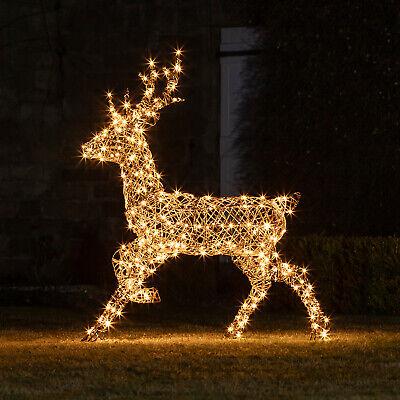 Large Light Up Rattan Stag Reindeer Outdoor Christmas Plug In Timer  Lights4fun 5056106713936 | eBay
