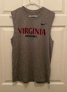 New Virginia UVA Cavaliers Basketball Team Issued Nike Gray Blue T-Shirt Small