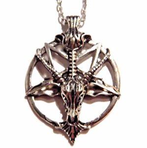 SILVER-BAPHOMET-PENDANT-goat-inverted-pentagram-pentacle-satan-devil-necklace-4E