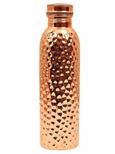 700 ml Hammered Fancy Travel Copper  Bottle  Design Travelling Joint-Free
