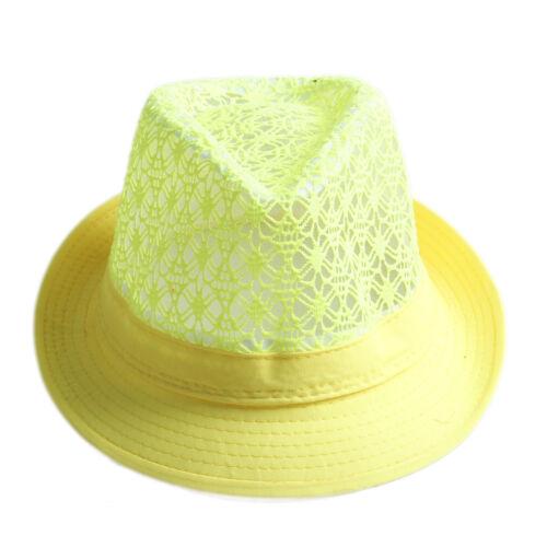 Women Men Hollow Soild Cotton Jazz Fedora Trilby Hat Summer Beach Cap Outdoor