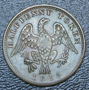 1815-CANADA-SPREAD-EAGLE-HALFPENNY-TOKEN-Lower-Canada-Br-994-Some-Tone