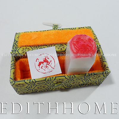2cm Chinese Zodiac Rabbit Year Stamp Chop Rabbit Stone Seal Free Shipping Round w Gift Box