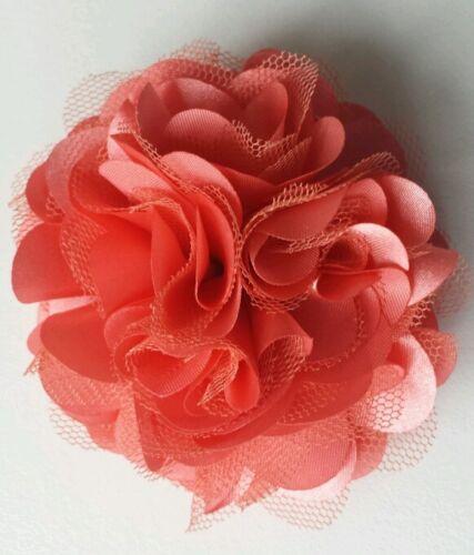 "Brooch Girls Womens 3/""satin /& Net Full Flower Hair Clip corsage DEEP CORAL"