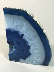 0378-80 5 Pair Natural Sky Blue Agate GeodeSky Blue Agate Open Geode With Druzy Pair 31x32x13-32x43x7mm 710 Cts