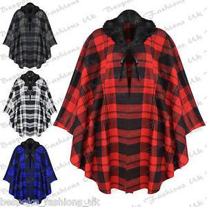 cfbd1b709be Ladies Women s Plus Size Tartan Check Tie Up Faux Fur Fleece Poncho ...