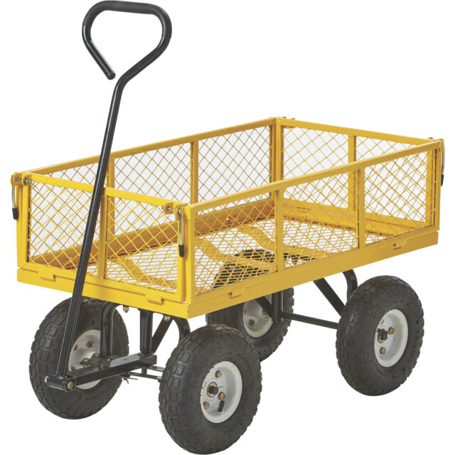 Steel Garden Cart With Removable Sides 400 Lb Capacity Green