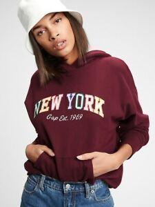 BNEW Gap Logo Hoodie Womens Jacket, Burgundy, Small