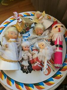 Vintage-1960s-Japan-Christmas-Lot-Angels-Santa-Ornaments-Kitsch
