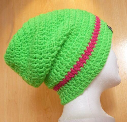 Long Beanie Mütze Skimütze Häkelmütze Wintermütze Surfermütze Slouch grün pink