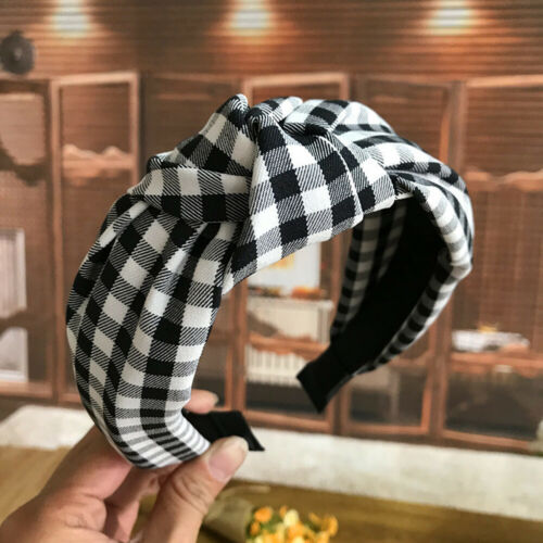Check Pattern Print Knotted Bow Wide Headband Head Hoop Hair Accessories