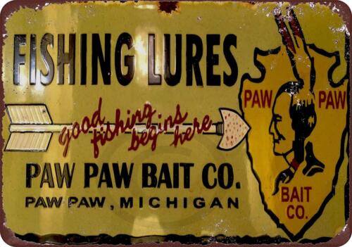 """Fishing Lures Vintage Rustic Retro Metal Sign 8/"""" x 12/"""" Paw Paw Bait Co"""
