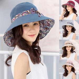 377a5f246e0ef 2019 Summer Women Big Wide Brim Cotton Hat Floppy Derby Beach Sun ...