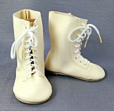 Pair of Monique Light Cream Lace Up Doll Boots Style 796 75mm         DL029