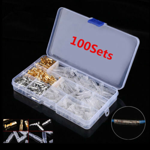 400 Pack 3.9mm Motorcycle Brass Bullet Male /& Female Wire Connector With Covers