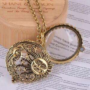Magnifying magnifier glass pendant sun moon stars necklace jewel image is loading magnifying magnifier glass pendant sun moon stars necklace mozeypictures Image collections
