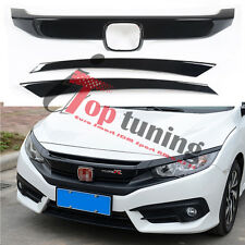 RS Turbo Sport Piano Black Front Bumper Grille Trims Decal for 16-17 Honda Civic