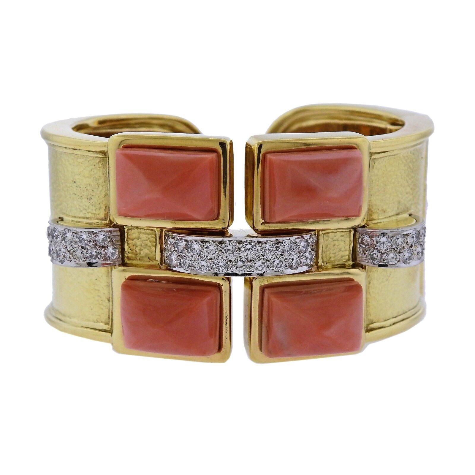 David Webb Bastille Diamond gold Platinum Coral Cuff Bracelet