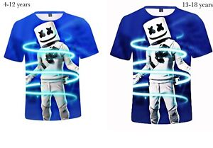 Boys DJ Marshmallow Man 3D print T shirt Fortnite Sport Nylon 4-12 Blue13-18Yrs