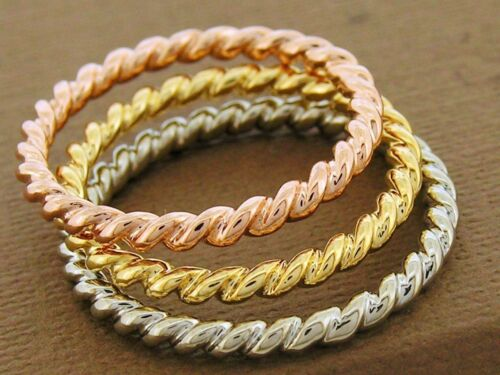 R253 White,Yellow or Rose 9K or 18K Gold Stackable Rope Twist Ring Wedding Band