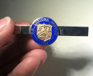 U-S-Customs-Service-Tie-Clip-Gold-Tone-Blue-Enamel-HTF