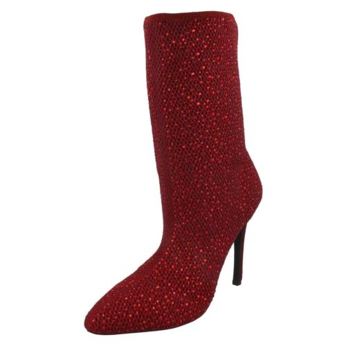 R29A Anne Michelle F5R0875 Ladies Red Calf Height Textile Boots