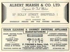 1953-Albert-Marsh-Sheffield-Presses-F-Young-Wandsworth-Drains-Ad