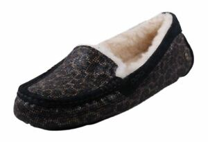feee8c55f46 Details about UGG Australia Ansley Slippers Glitter Moccasins Size 5 Bronze  Black Gold 1006817
