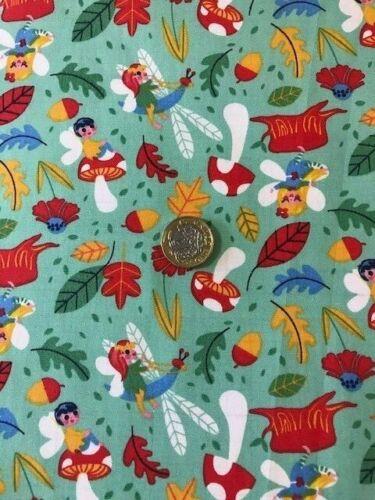 fairy  mushrooms woodland 100/% cotton fabric green patchwork quilting dress cra
