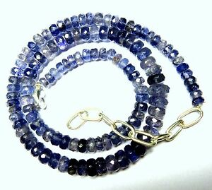 """146.00 CT Natural Iolite Gemstone Rondelle Faceted Beads 19.5"""" NECKLACE 5-9MM S8"""