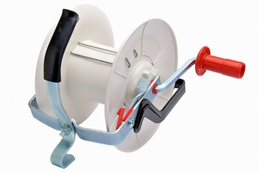 GEARED ELECTRIC FENCE REEL - 3 1 Tape Wire Rope Fencing Handheld - FREE POSTAGE
