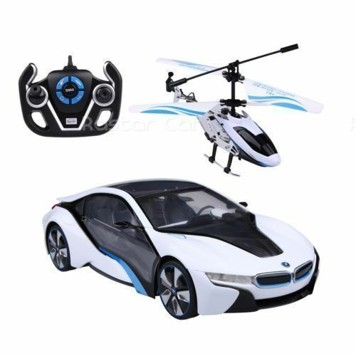 1 14 Speed Twins BMW i8 Car & Helicopter Radio Remote Control Controlled RC New