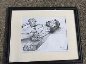 Jesús En La Cruz Crucificado Corona De Espinas Dibujo A Lápiz Arte