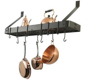 Old-Dutch-Wall-Mount-Pot-Rack-Pan-Holder-Kitchen-Organizer-12-Hooks-Oiled-Bronze