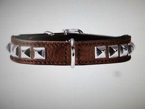 collier cuir Hunter rocky  46480 MARRON CLAIR  T 27 cm petit : très petit chien