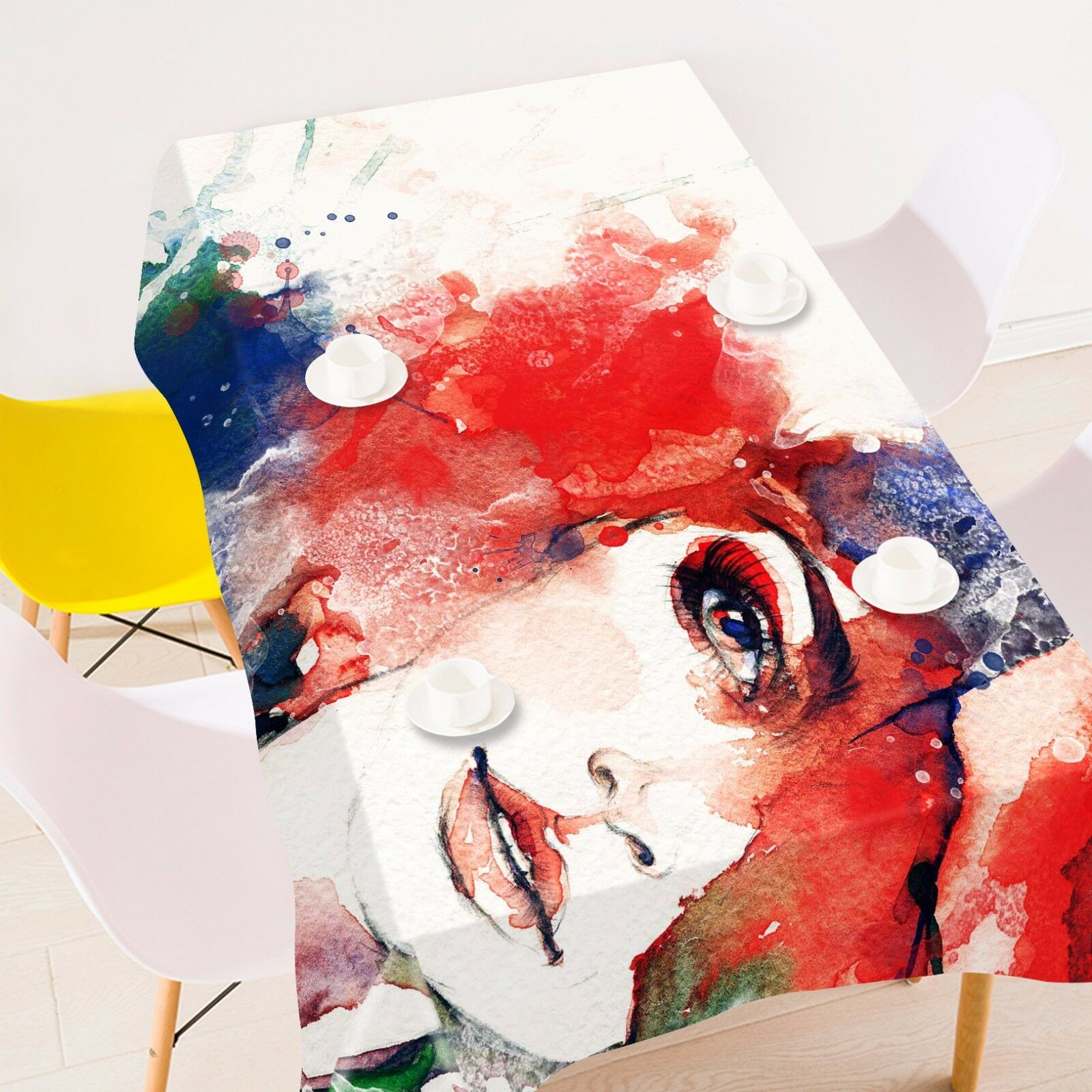 3D Paint Girl Tablecloth Table Cover Cloth Birthday Party AJ WALLPAPER UK Lemon